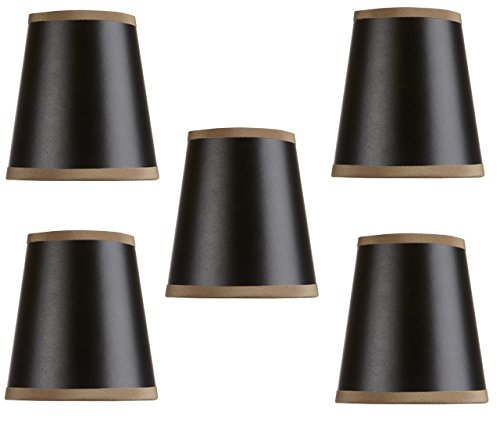 Shades Silk Chandelier Black (Mini Chandelier Shades Clip On Small Lamp shades set of Five black paper gold lining Gold trim)