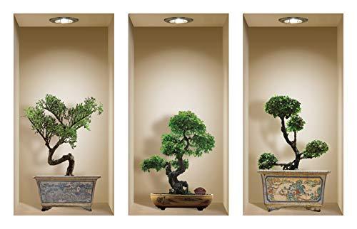 The Nisha Art Magic 3D Vinyl Removable Wall Sticker Decals DIY, Set of 3, Bonsai