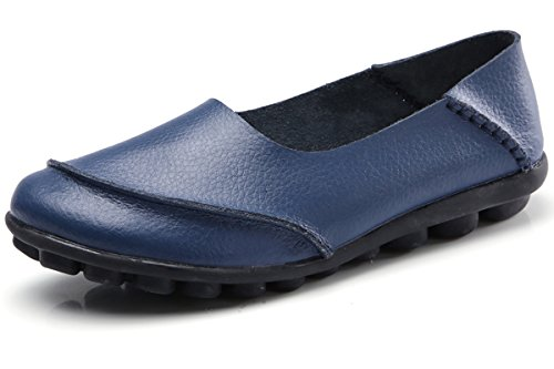 KEESKY Boat Work Shoes for Women Size 7.5 Navy Blue Flat Loafers for ()