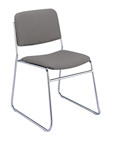 Round Back Armless Guest Chair - KFI Seating 310 Armless Stacking Chair Sled Base, Commercial Grade, Gray Fabric, Made in the USA