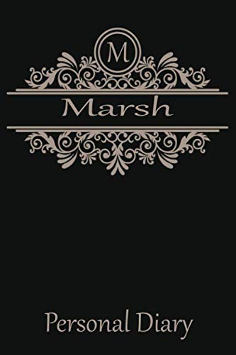 M Marsh Personal Diary: Cute Initial Monogram Letter Blank Lined Paper Personalized Notebook For Writing & Note Taking Composition Journal (Composition Book Locking)