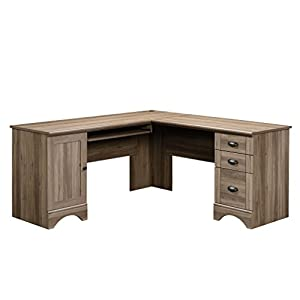 Sauder 417586 Harbor View Computer Desk, L: 66.14″ x W: 66.14″ x H: 30.28″, Salt Oak finish
