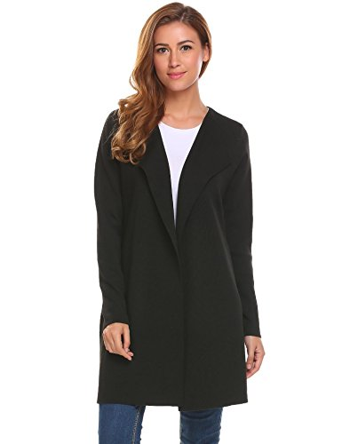 ThinIce Women's Loose Fit Long Sleeve Knitted Cardigan Sweaters Outerwear, Black, (Cashmere Sweater Coat)