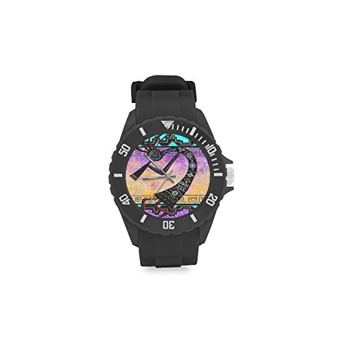 Special Design Native American Kokopelli Flute Player, Music Notes Custom Kids' Round Rubber Sport Watch by Kokopelli Watch