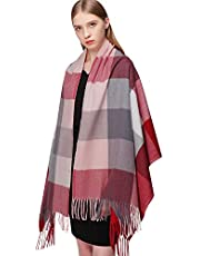 RIIQIICHY Plaid Cashmere Scarfs for Women Warm Thick Winter Pashmina Shawls and Wraps Scarves