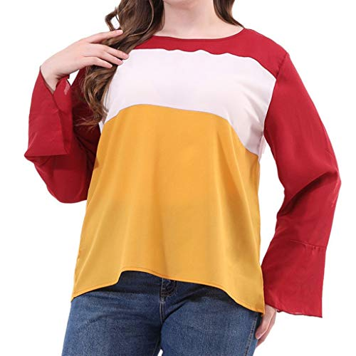 POQOQ Tunic Blouse Women O-Neck Plus Size Splicing Long Sleeve Autumn Top(Yellow,2XL) -