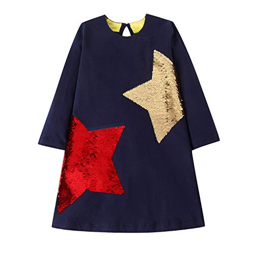 Sequin Jersey Cotton Dress - Little Girls Dress Casual Cotton Kids Unicorn Appliques Striped Jersey Dress 2-7 Years (2T, Sequin Stars Black)