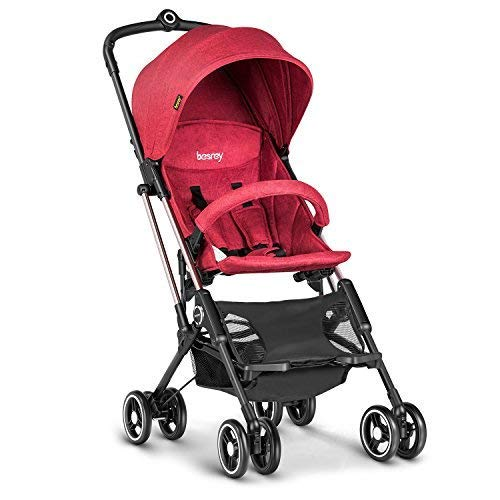 besrey Lightweight Stroller Airplane Stroller Compact Buggy One Step Design for Opening & Folding Easily get on Plane - Red