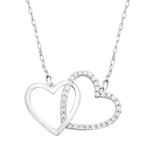 1/4 ct Diamond Linking Heart Necklace in Sterling Silver & Platinum by Finecraft