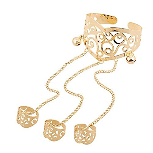 Logo Belly Dance (Yozone Beautiful Belly Dance Bracelet Jewelry Hollow carved cuff Bangles with Three Rings (Gold1))