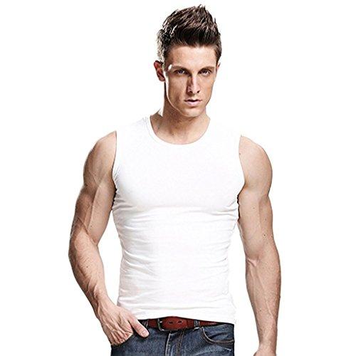 Xudian men's Tank Top Stretchy Athletic Sleeveless Shirt Crewneck US L/Asian XXL White