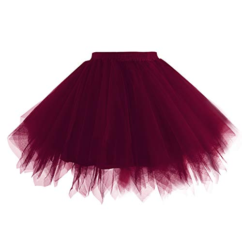 (Hanpceirs Women 1950s Short Vintage Tulle Petticoat Skirt Ballet Bubble Tutu Burgundy XL)
