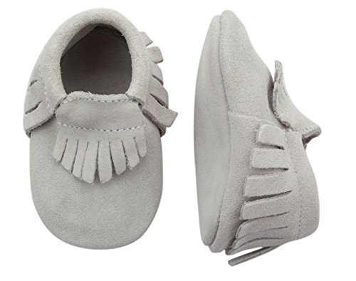 Unique Baby Unisex Quality Suede Moccasins(L 5.4 Inches) Light Gray