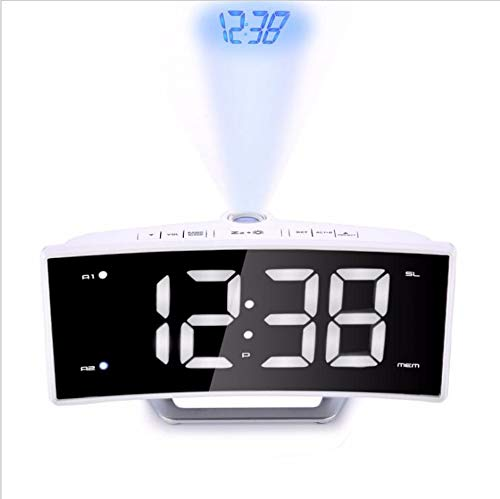 Radio Nid Fashion Led Projection Mirror Alarm Clock Hong Kong Luminous Double-Tone Electronic Clock External Power Supply Home Decoration Digital Electronic Clock,A0