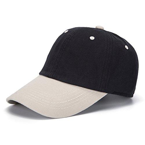 2 Ton Cap (ZOMOY Unisex Classic Washed Dyed Cotton Baseball Cap Two Tone Low Profile Six Panel Adjustable Vintage Hat (Black))