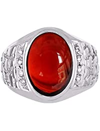 Nugget Ring with Oval Shape Cabochon Gemstone & Genuine Sparkling Diamonds in Sterling Silver .925