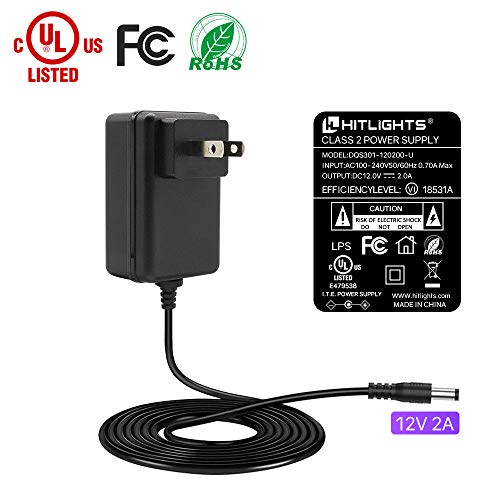 HitLights 24 Watt (2 Amp) LED Power Supply 110V AC to 12V DC Transformer UL-Listed Lighting Power Adapter for LED Strip Lights and Other Low Voltage Devices