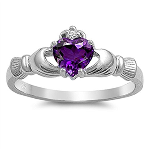 Simulated Amethyst Heart Claddagh Friendship Ring .925 Sterling Silver Band Size 6