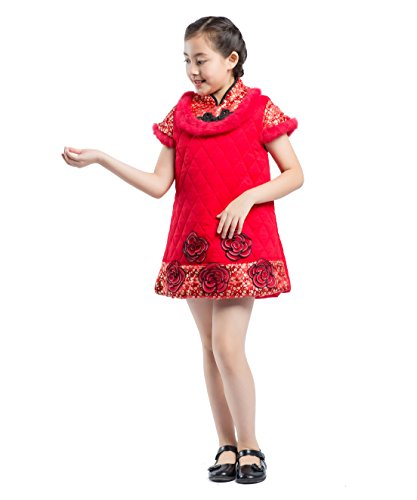 Tang Courtes Cheongsam Costume Fille Rouge Manches Akaayuko Chinois Hiver Robe Qipao R7BU8wq