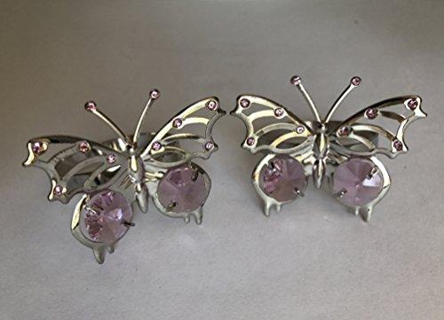 SunRise Pink Diamond Butterfly Chrome Napkin Rings w/ Crystal Rhinestones & Diamonds for Wedding Favor, Wedding Proposals, Centerpieces, Set of 2