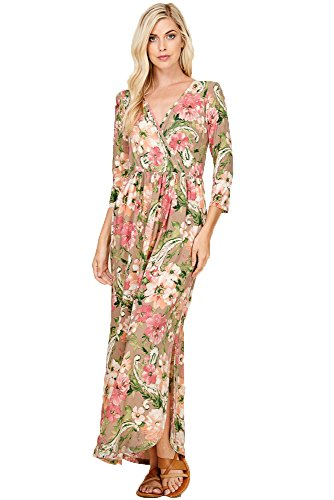Annabelle Women's V-Neck Wrap Front Floral Print Pleated Side Pocket Maxi Dresses Pink Taupe Small D5261B -