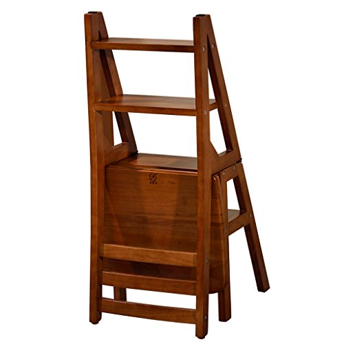 Sevts Creative Folding Library Home kitchen Ladder Chair Kitchen Office Use step stool Furniture (Color : Brown) - Folding Chair Ladder