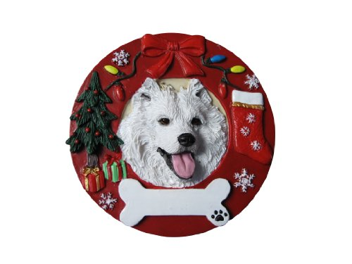 (Samoyed Christmas Ornament Wreath Shaped Easily Personalized Holiday Decoration Unique Samoyed Lover Gifts)