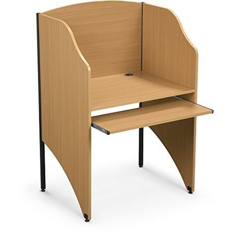 Privacy Unit Carrel (Ioneyes Desk Tan Teak Unit Starter Workstation Private Carrel Floor Standard)