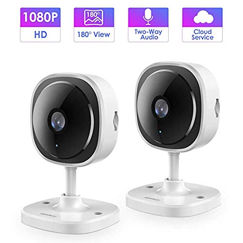 IP Camera,Wandwoo 1080P Wireless Camera with Night Vision,Two-Way Audio,180 Fisheye Panoramic Security Camera Support Motion Dection,Cloud Service,for Home Baby Elderly Pet Monitor,2 Pack, White
