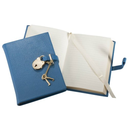 Graphic Image Small Padlock Diary, Genuine Leather Hard Cover, 240 Lined Pages, 6''