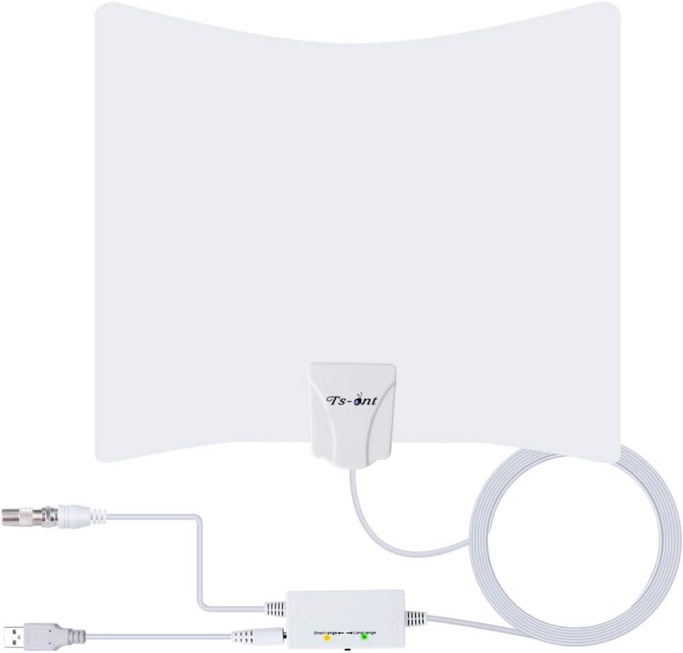 TS-ant Última Versión Antena de TV, Blanco Antena de TV Interior, Señal Amplificador de Cable Coaxial de 5M,Visualización Gratuita Canales 4H 1080P ...