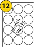 12 Circular Labels X 5 Sheets, Avery L7630 & Avery L7650 Compatible White Blank Multi function Self-Adhesive A4 Address , Printable with Copier, Laser or Inkjet Printer, 2.5 inch or 63.5mm Diameter Circles - A LABELS4U ®TM Branded Product
