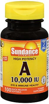 Sundance Vitamins High Potency A 10,000 IU Vitamin Supplement Quick Release Softgels - 100 ct, Pack of 6