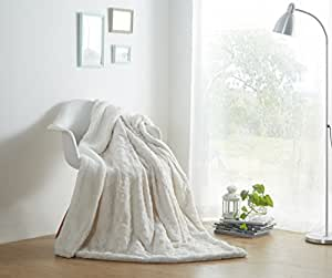 """DaDa Bedding Luxury White Roses Faux Fur with Sherpa Backside Fleece Throw Blanket - Super Soft Warm Plush Luxe Solid Toss - 90"""" x 90"""""""