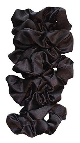 - Satin Life Black Lightweight Satin Scrunchies (5 Pack)