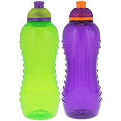 Sistema Lunch Twist 'n' Sip Water Bottle, Green/Purple, 15 oz.