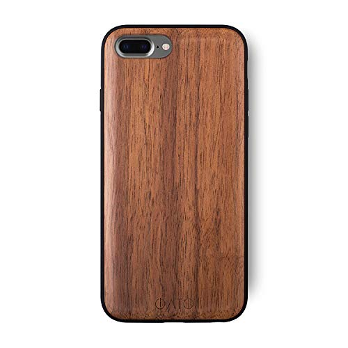 iATO iPhone 7 Plus / 8 Plus Wooden Case - Real Walnut Wood Grain Premium Protective Back Cover. Unique, Stylish & Classy Snap on Bumper Accessory Designed for iPhone 7+ 8+