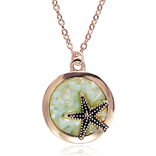RUXIANG Sea Starfish in Round Disc Abalone Shell Clip Pendant Necklace Jewelry (rose gold)