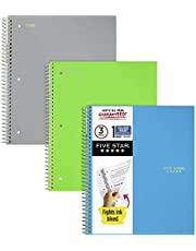 """Five Star Spiral Notebooks, 1 Subject, College Ruled Paper, 100 Sheets, 11"""" x 8-1/2"""", Assorted Colors, 3 Pack (73053)"""