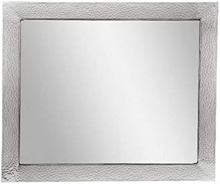 The Copper Factory CF138SN Solid Hammered Copper Framed Rectangular Mirror, Satin Nickel