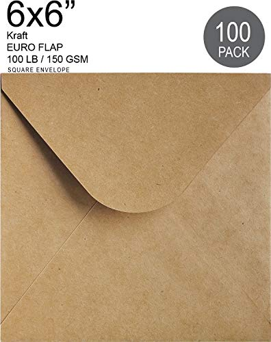 "6"" x 6"" Square Invitation Envelope 100 Pcs | Kraft Brown Euro Flap | Photos, Announcements, Weddings, Thank You Notes"