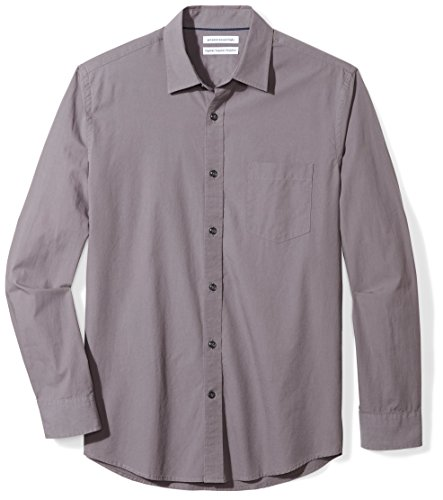 Amazon Essentials Men's Regular-Fit Long-Sleeve Solid Poplin Shirt, Grey, (Solid Long Sleeve Button)