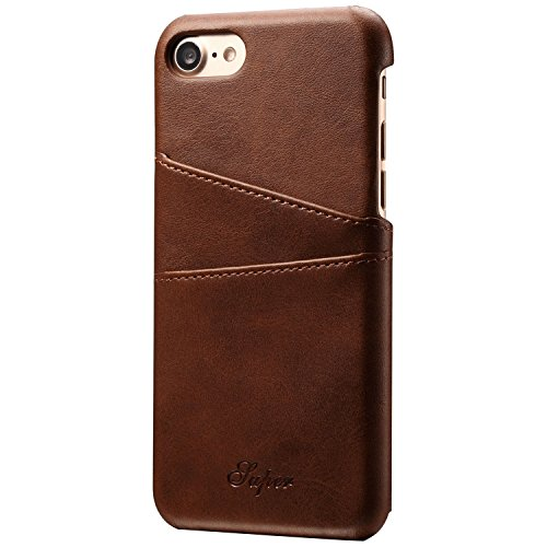 iPhone 7 Wallet Case, Slim PU Leather Back Case Cover With Credit Card Holder for Men Women Brown