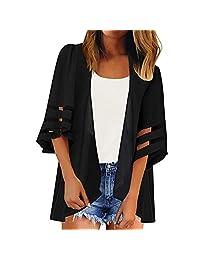 SiQing - cárdigan Tipo Kimono Suelto de Gasa de Color Puro con Panel de Malla 3/4 para Mujer