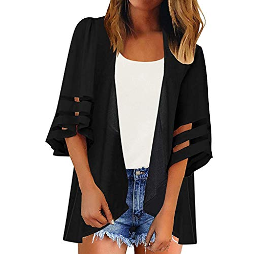 HIRIRI Women Chiffon Casual Loose Kimono Cardigan Mesh Panel 3/4 Bell Sleeve Shirt Tops Black