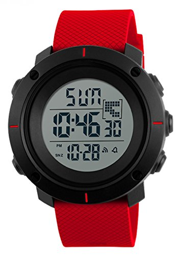 WUTONYU Boys and Girls Electronic Watches Dual Time Zone EL Light Stopwatch Date Waterproof WristWatch (Red) (46 Countdown Days Christmas)