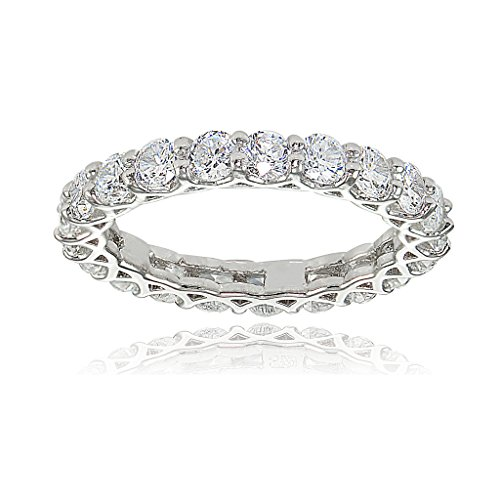 Sterling Silver Cubic Zirconia 3mm Round-cut Eternity Band Ring by Hoops & Loops