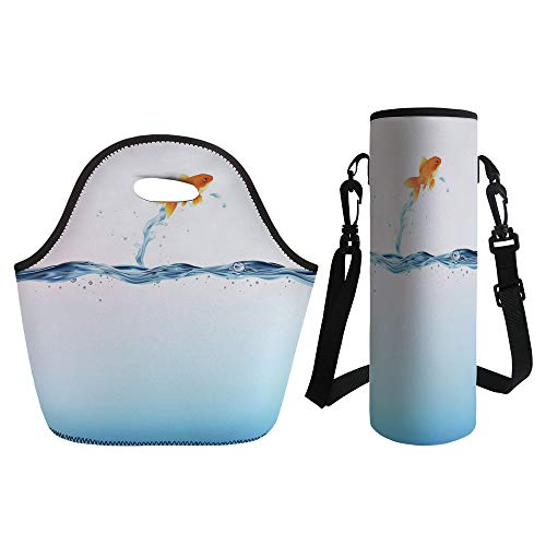3D Print Neoprene lunch Bag with Kit Neoprene Bottle Cover,Aquarium,Little Goldfish Leaping Out Of Water Bravery Challenge Freedom Theme Decorative,Blue Light Blue Orange,for Adults Kids