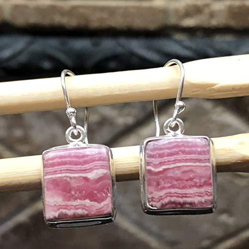 Natural Pink Rhodocrosite 925 Sterling Silver Dangle Earrings 25mm long
