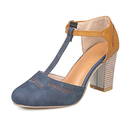 Women's Fashion Round Toe Chunky Ankle Strap Buckle High Heels Shoes, Huazi2 Rome Thick Heel Pumps Sandals Blue (Iron Fist Flats Size 7)